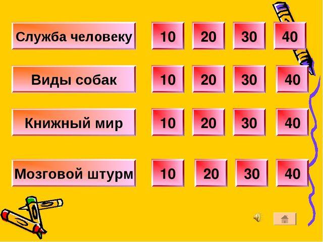 Служба человеку 10 20 30 40 10 20 30 40 40 30 20 10 40 30 20 10 Виды собак Кн...