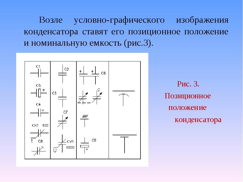 Возле условно-графического изображения конденсатора ставят его позиционное...