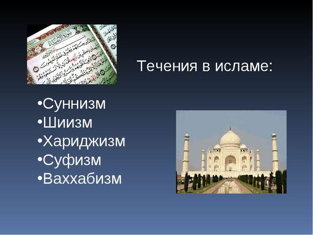 Течения в исламе: Суннизм Шиизм Хариджизм Суфизм Ваххабизм