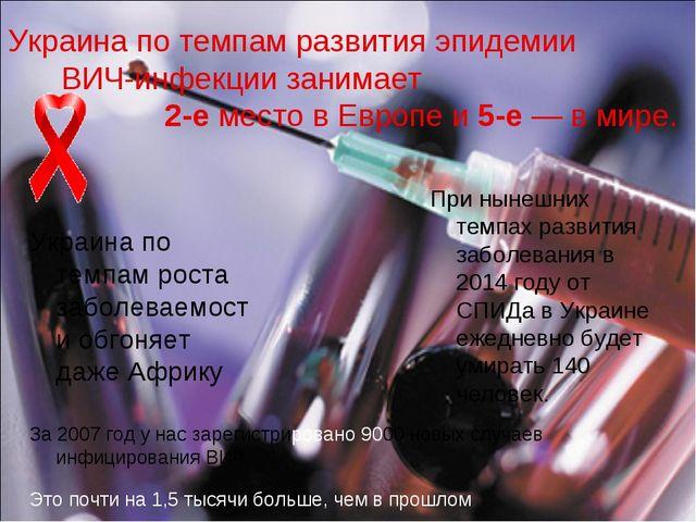 Украина по темпам развития эпидемии ВИЧ-инфекции занимает 2-е место в Европе...