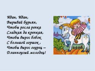Иван, Иван, Вырывай бурьян, Чтобы росла репка Сладкая да крепкая, Чтобы вырос