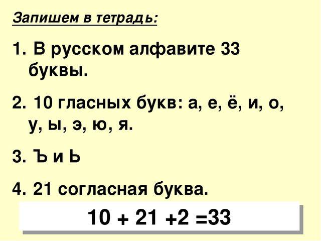 Запишем в тетрадь: В русском алфавите 33 буквы. 10 гласных букв: а, е, ё, и,...