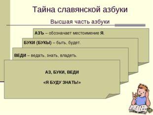 Тайна славянской азбуки Высшая часть азбуки АЗЪ – обозначает местоимение Я. К