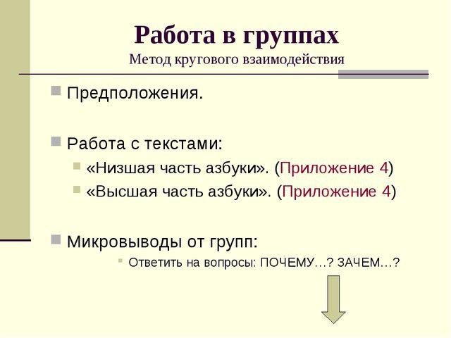 Работа в группах Метод кругового взаимодействия Предположения. Работа с текст...