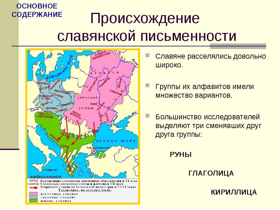 Происхождение славянской письменности Славяне расселялись довольно широко. Гр...