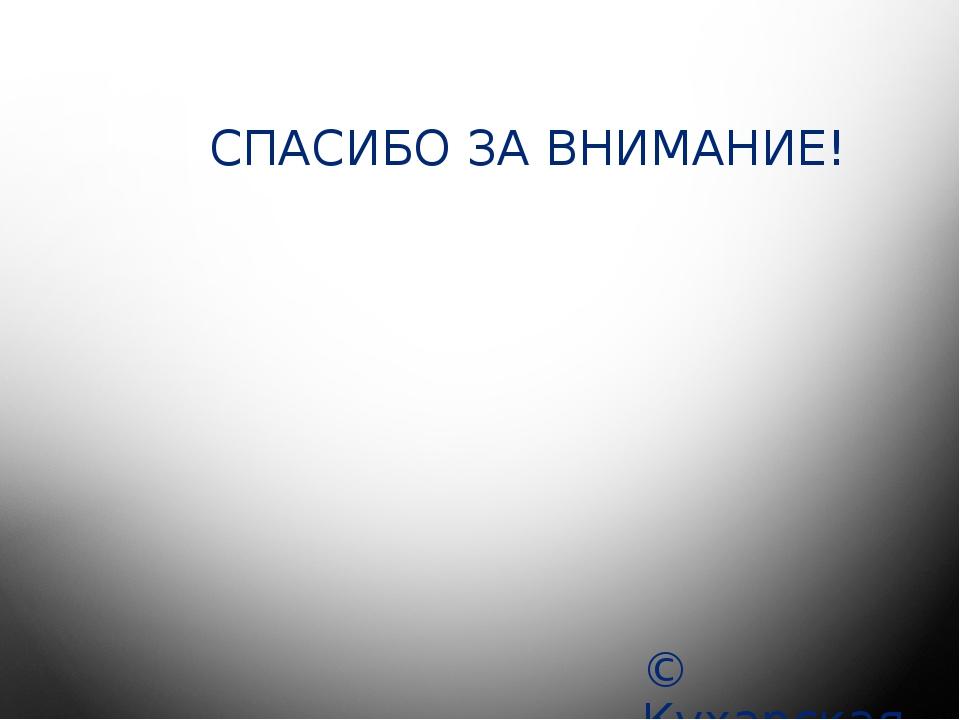 СПАСИБО ЗА ВНИМАНИЕ! © Кухарская С.С.