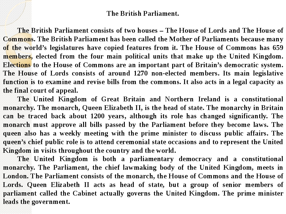 an introduction to the four primary functions of the british parliament Principles determine the place of the legislative bodies in the law-making comes from the british parliament fulfil other functions except the.