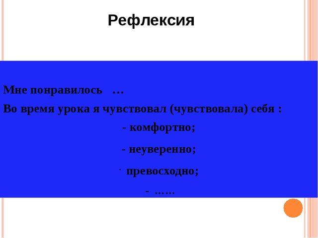 Рефлексия Мне понравилось … Во время урока я чувствовал (чувствовала) себя :...