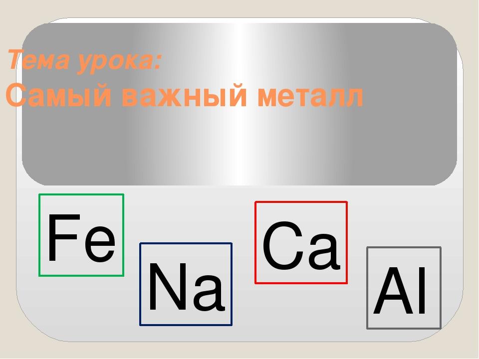 Тема урока: Самый важный металл Fe Na Ca Al