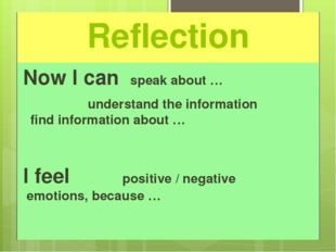 Reflection Now I can speak about … 			 understand the information 			 find in