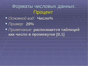 Форматы числовых данных: Процент Основной вид: Число% Пример: 20% Примечание: