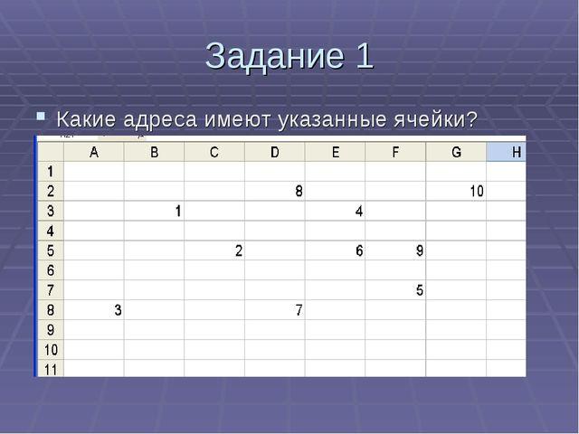 Задание 1 Какие адреса имеют указанные ячейки?