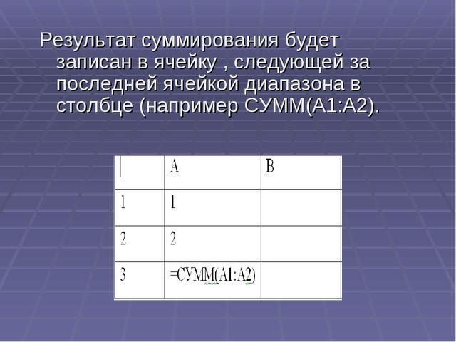 Результат суммирования будет записан в ячейку , следующей за последней ячейко...