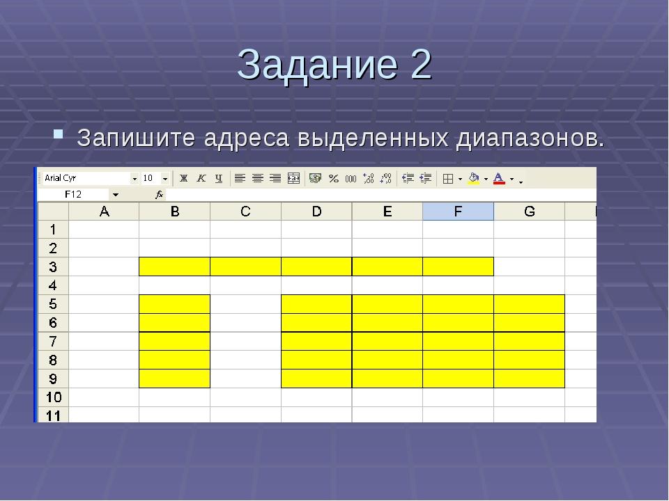 Задание 2 Запишите адреса выделенных диапазонов.
