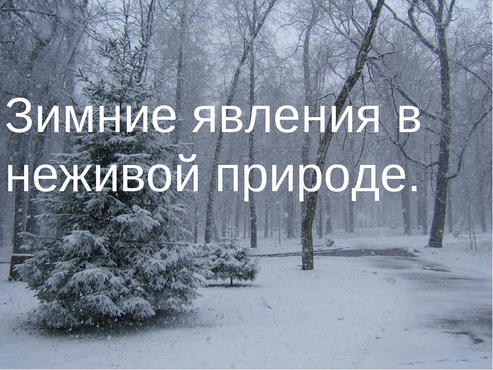 Зимние явления в неживой природе.