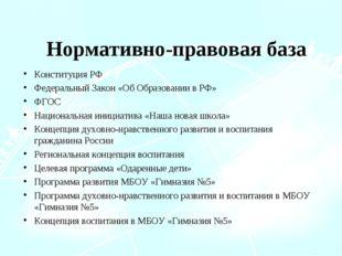 Нормативно-правовая база Конституция РФ Федеральный Закон «Об Образовании в Р