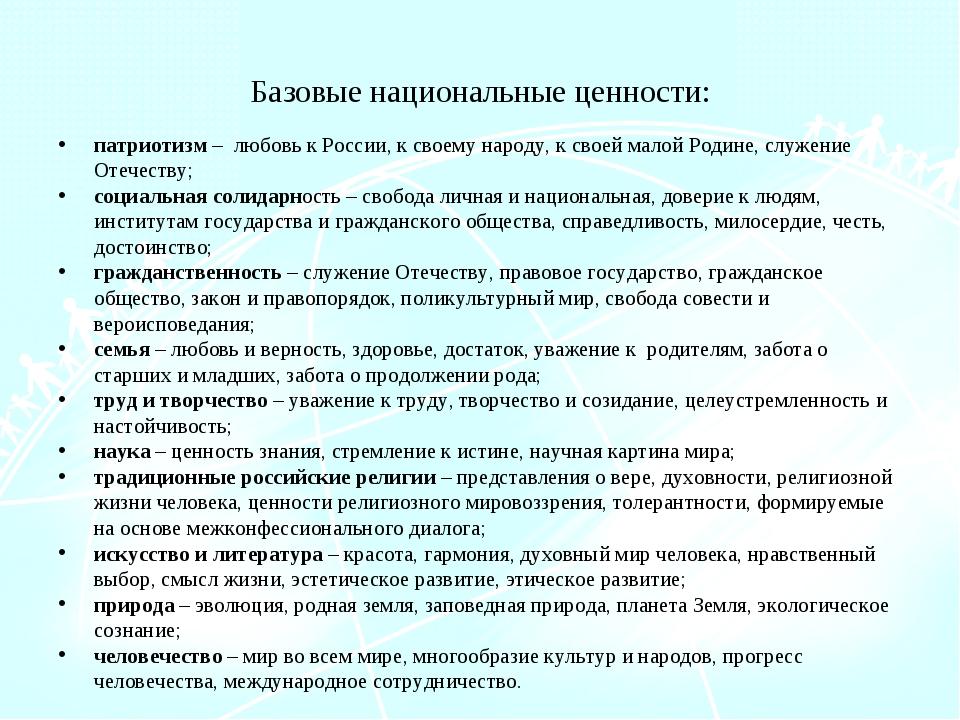 Базовые национальные ценности: патриотизм – любовь к России, к своему народу,...