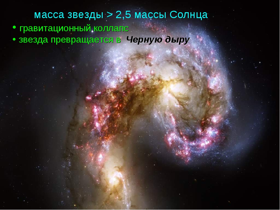 масса звезды > 2,5 массы Солнца гравитационный коллапс звезда превращается в...