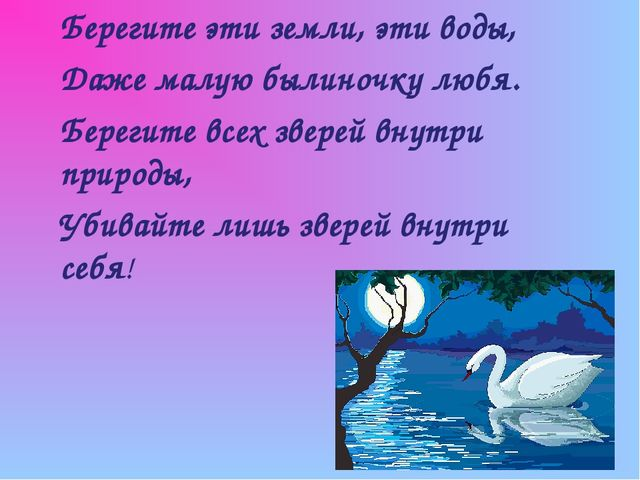 Берегите эти земли, эти воды, Даже малую былиночку любя. Берегите всех зверей...