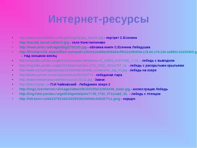 Интернет-ресурсы http://www.srozhdeniem.ru/drugoe/img/sergey_esenin.jpg - пор...