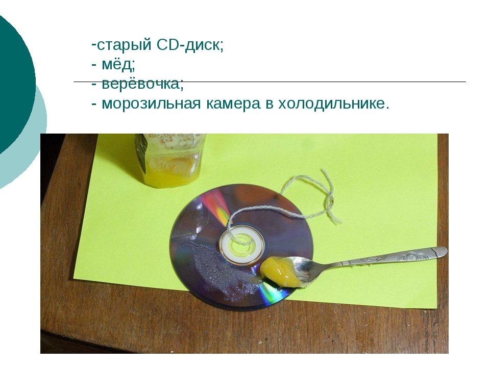 старый CD-диск; - мёд; - верёвочка; - морозильная камера в холодильнике.