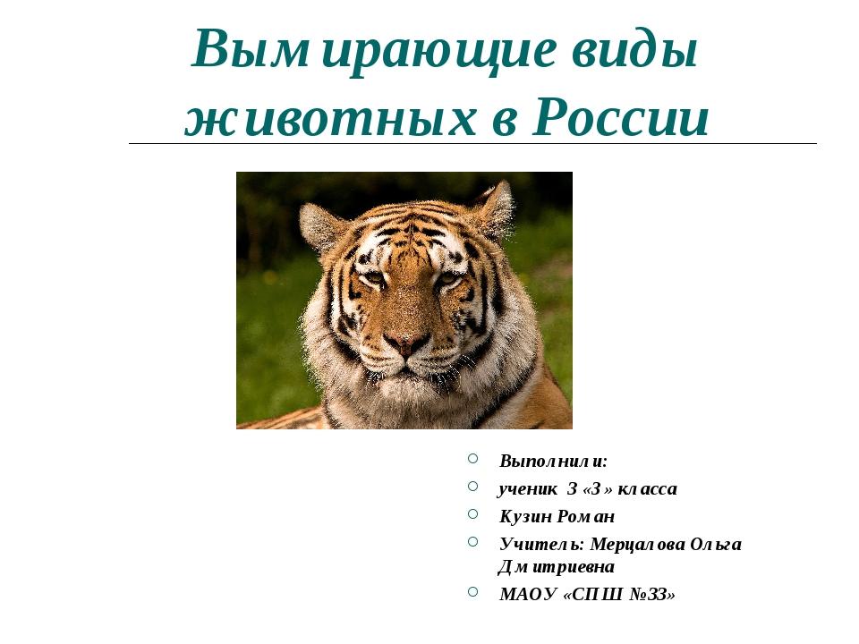 Вымирающие виды животных в России Выполнили: ученик 3 «З» класса Кузин Роман...