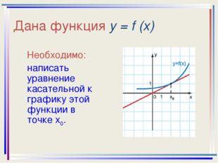 Дана функция у = f (x) Необходимо: написать уравнение касательной к графику э