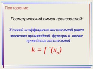 Повторение: Геометрический смысл производной: Угловой коэффициент касательной