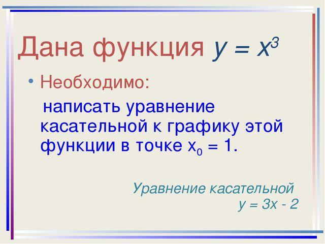 Дана функция у = х3 Необходимо: написать уравнение касательной к графику этой...