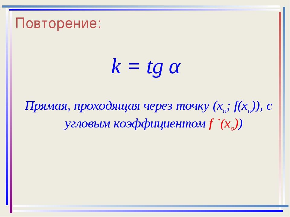 Повторение: k = tg α Прямая, проходящая через точку (хо; f(хо)), с угловым ко...