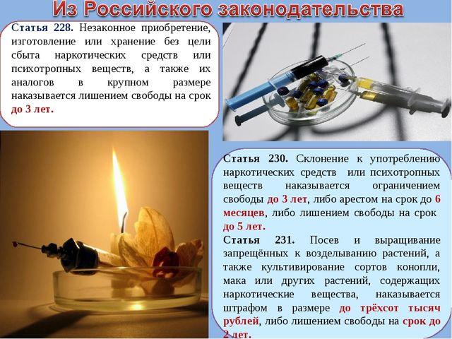 Статья 228. Незаконное приобретение, изготовление или хранение без цели сбыта...