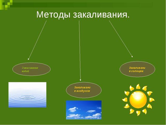 Методы закаливания. Закаливание водой Закаливание воздухом Закаливание солнцем