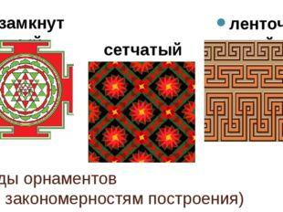 Виды орнаментов (по закономерностям построения) замкнутый ленточный сетчатый