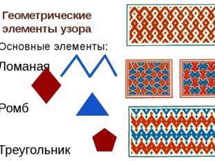 Геометрические элементы узора Основные элементы: Ломаная Ромб Треугольник Мно