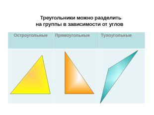 Треугольники можно разделить на группы в зависимости от углов Остроугольные