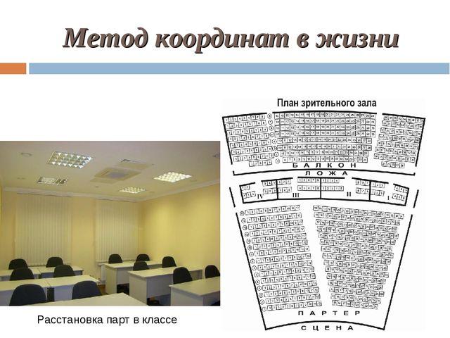 Метод координат в жизни Расстановка парт в классе