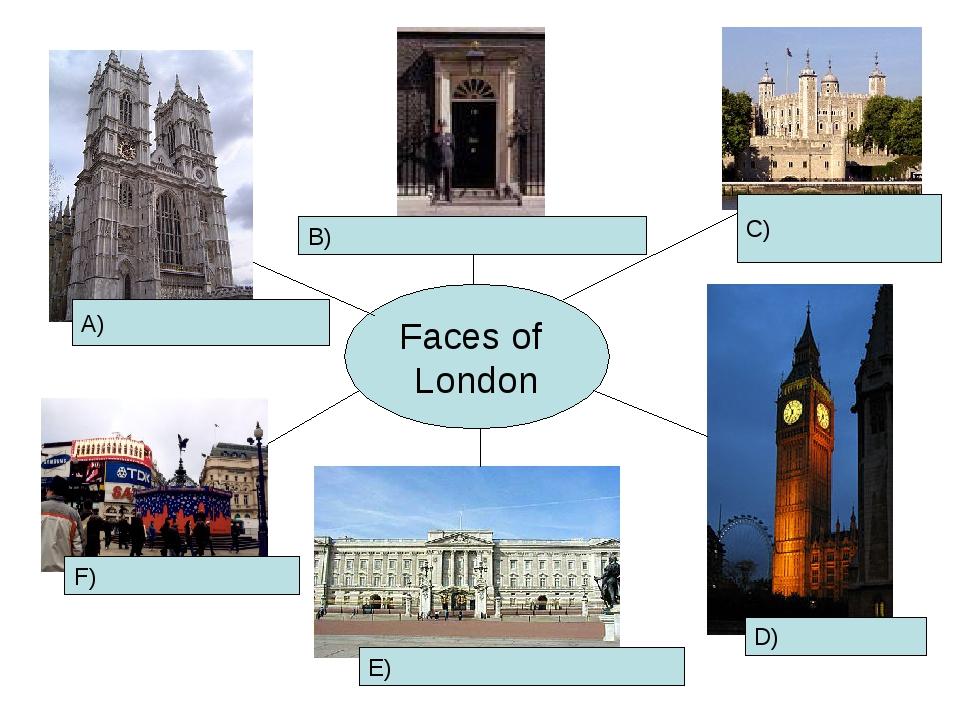 Faces of London A) F) E) D) B) C)