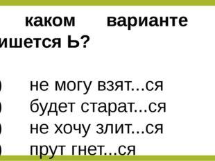 В каком варианте не пишется Ь? 1) не могу взят...ся 2) будет старат