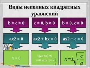 Виды неполных квадратных уравнений b = c = 0 c = 0, b ≠ 0 b = 0, c ≠ 0 ax2 =