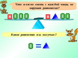 Что можно снять с каждой чаши, не нарушая равновесия? Какое равенство мы полу