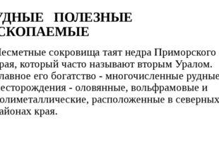 РУДНЫЕ ПОЛЕЗНЫЕ ИСКОПАЕМЫЕ Несметные сокровища таят недра Приморского кра