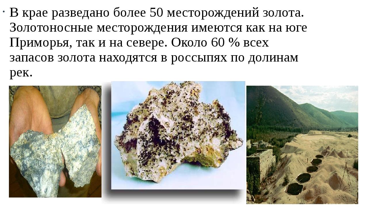 В крае разведано более 50 месторождений золота. Золотоносные месторождения им...