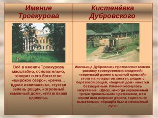 Имение ТроекуроваКистенёвка Дубровского  Всё в имении Троекурова масштабно,