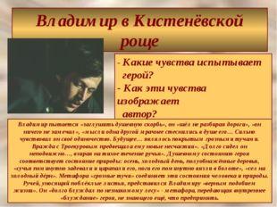 Владимир в Кистенёвской роще - Какие чувства испытывает герой? - Как эти чувс