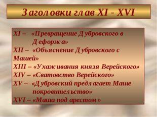 Заголовки глав XI - XVI XI – «Превращение Дубровского в Дефоржа» XII – «Объяс