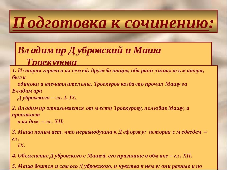 Подготовка к сочинению: Владимир Дубровский и Маша Троекурова 1. История геро...