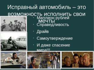 Исправный автомобиль – это возможность исполнить свои мечты Миллион рублей Сп
