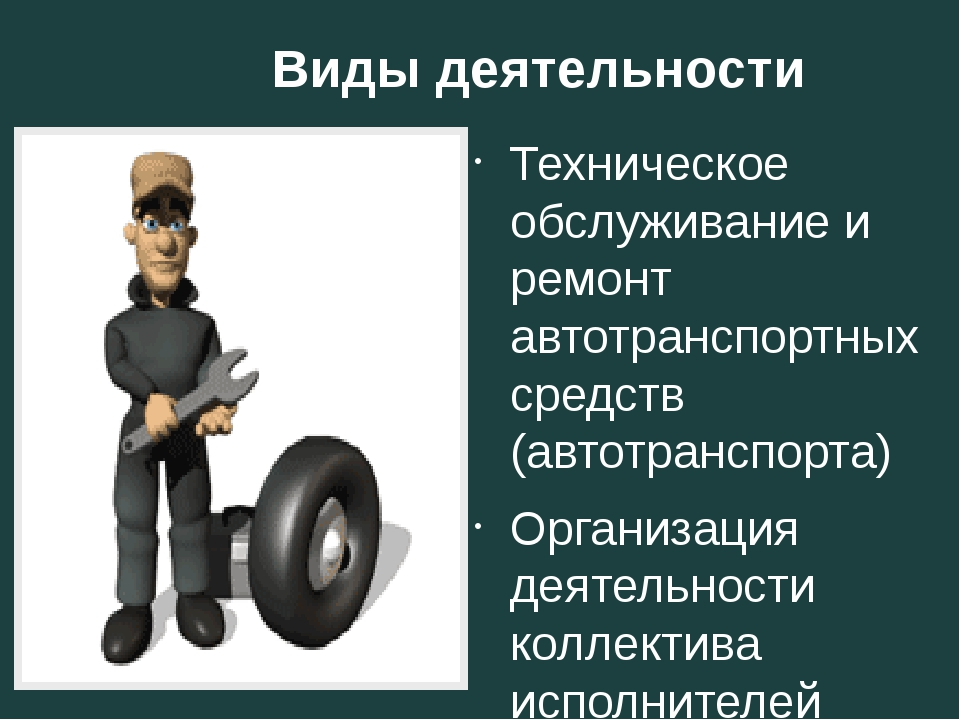 Виды деятельности Техническое обслуживание и ремонт автотранспортных средств...