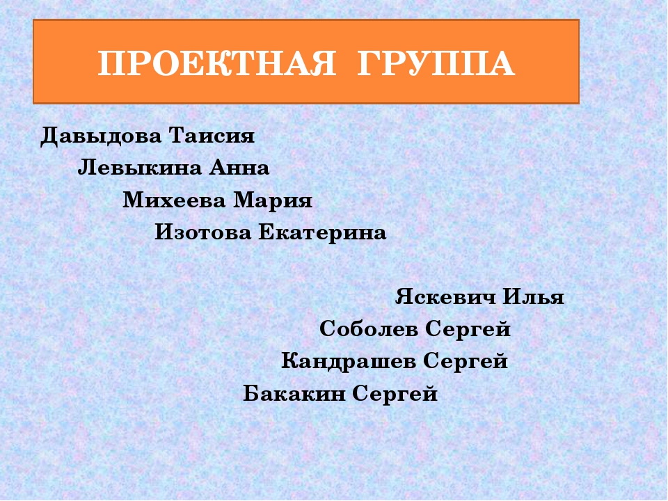 ПРОЕКТНАЯ ГРУППА Давыдова Таисия Левыкина Анна Михеева Мария Изотова Екатерин...