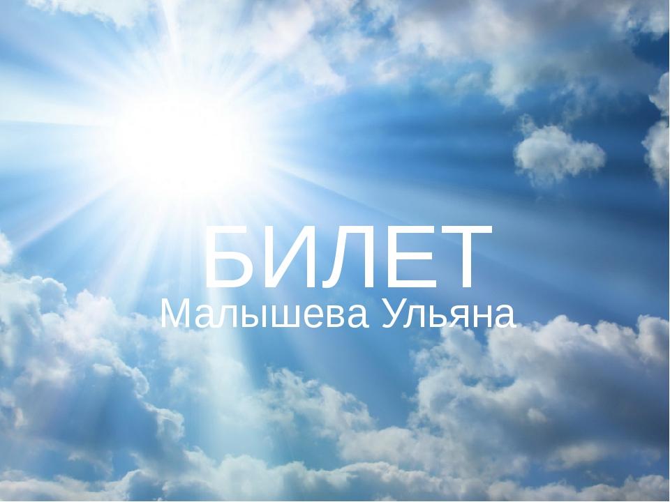 БИЛЕТ Малышева Ульяна